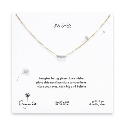 3 wishes silver stardust bead necklace on gold dipped chain