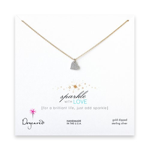 sparkle heart necklace with sterling silver charm on gold dipped chain