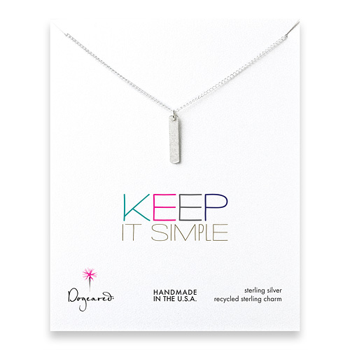 keep it simple sterling silver long bar necklace