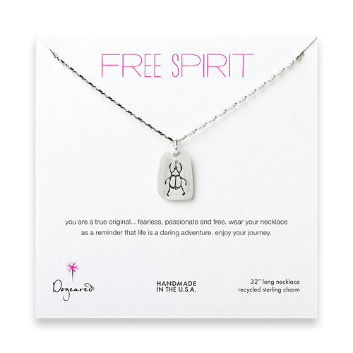 free spirit sterling silver scarab necklace - 32 inches