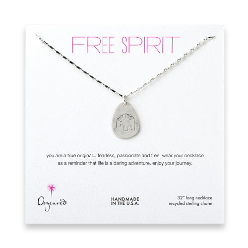 free spirit sterling silver elephant necklace - 32 inches