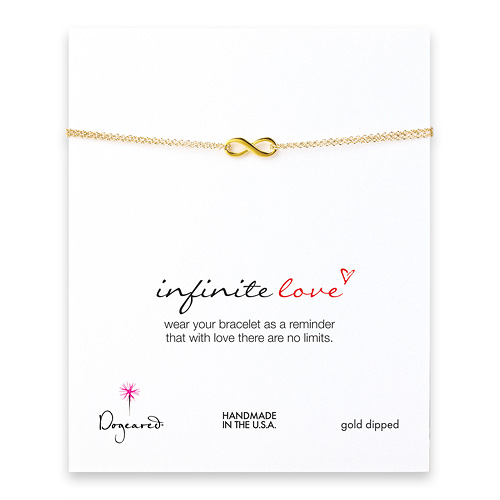 small infinite love bracelet, gold dipped