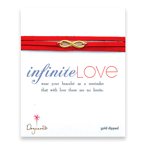 large gold dipped infinite love bracelet on scarlet leather