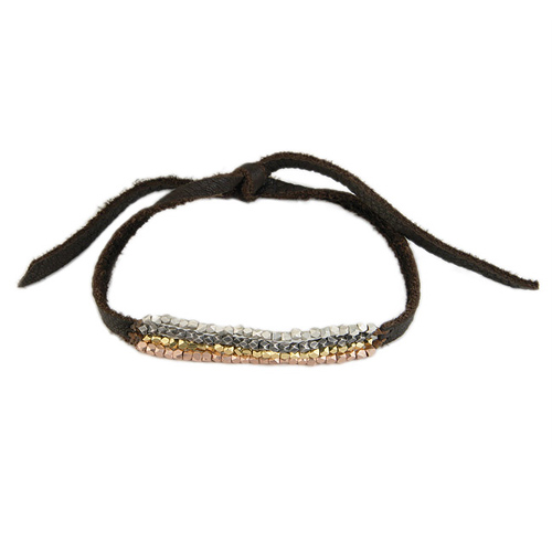 100 good wishes leather bracelet with mixed metal beads