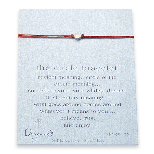 circle bracelet sterling silver on red irish linen