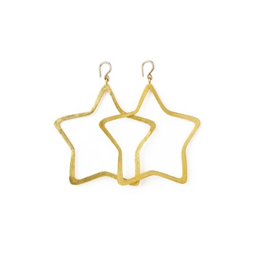 always beautiful star earrings, gold dipped
