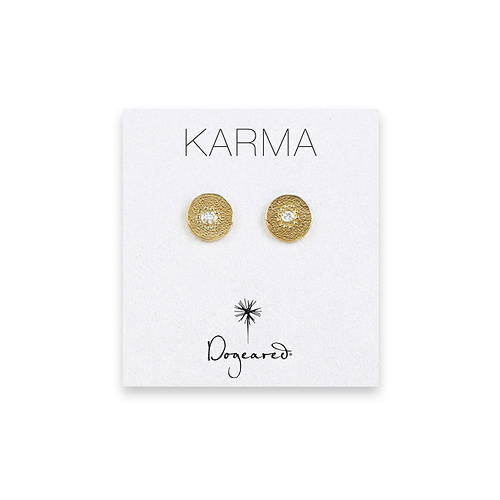 karma diamond earrings, gold dipped