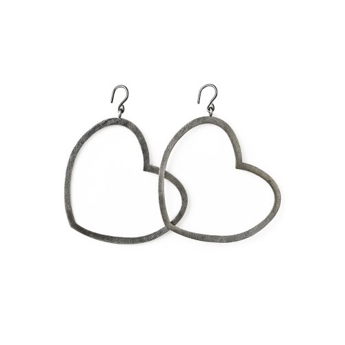 always beautiful heart earrings, charcoal sterling silver