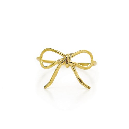 bow ring, gold dipped, size 5