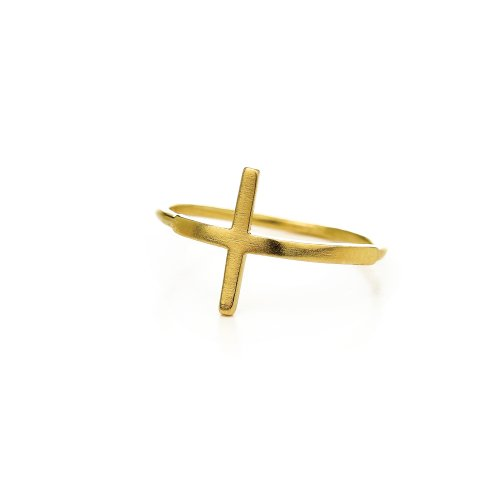 large cross ring, gold dipped, size 5