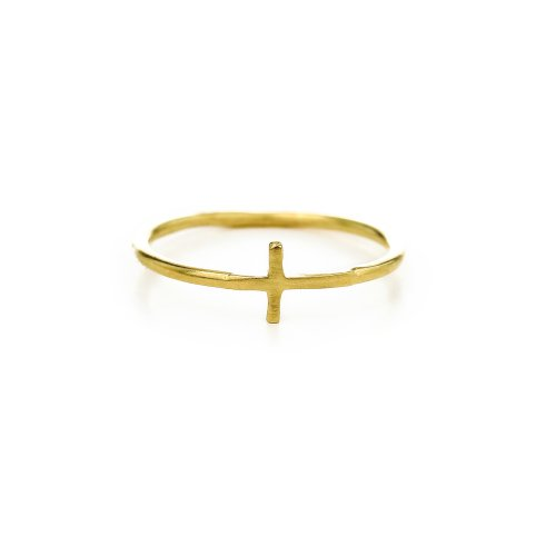 small cross ring, gold dipped, size 6