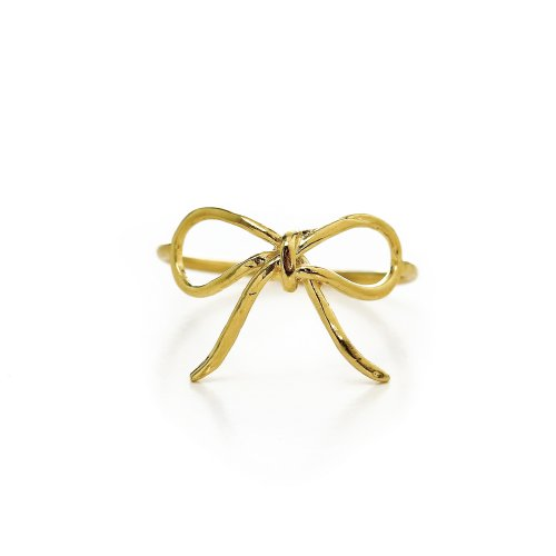 bow ring, gold dipped, size 8