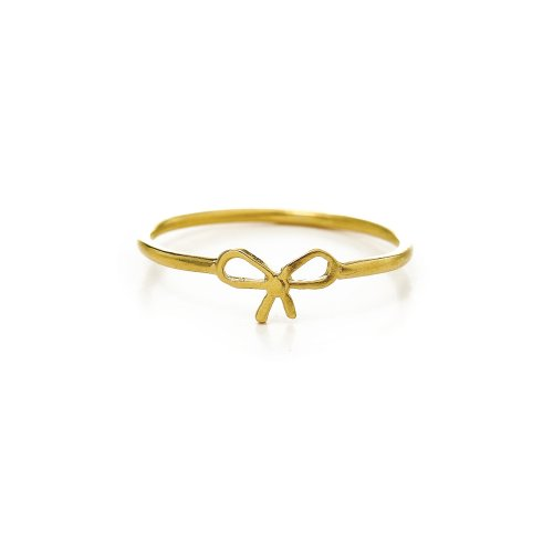 small bow ring,  gold dipped, size 8