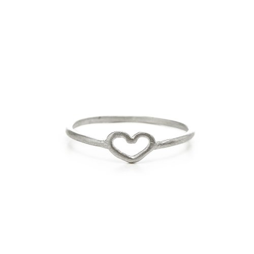 heart ring, sterling silver, size 5