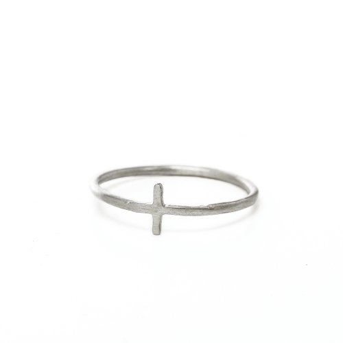 small cross ring, sterling silver, size 7