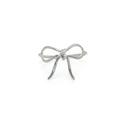 bow ring, sterling silver, size 8