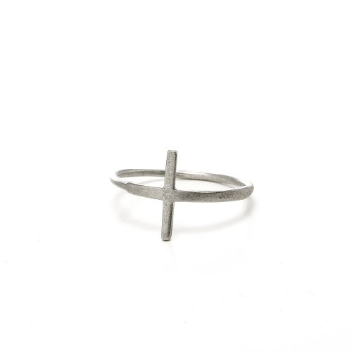 large cross ring, sterling silver, size 8