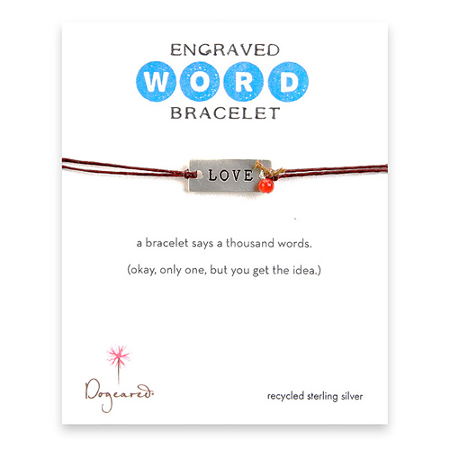 love engraved word bracelet
