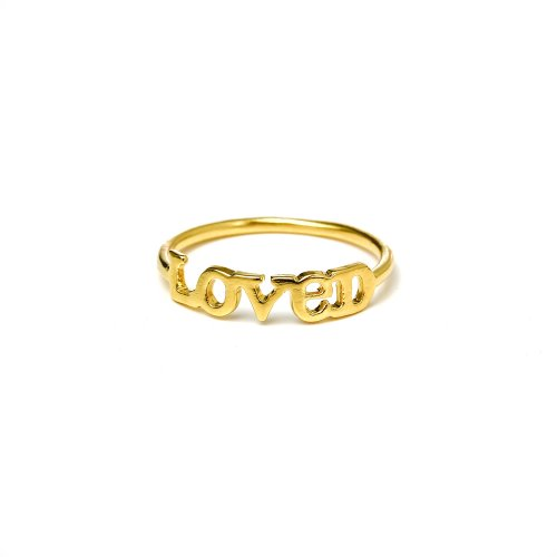loved ring, gold dipped, size 7