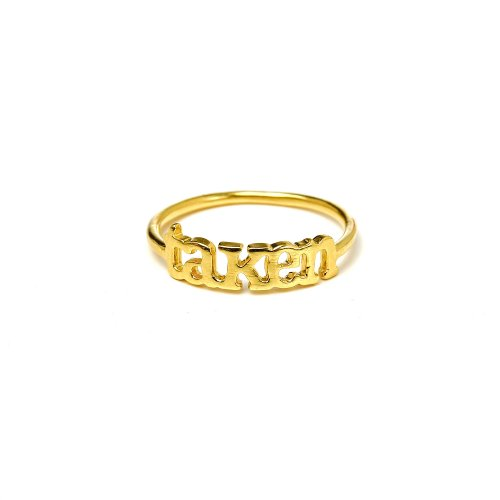 taken ring, gold dipped, size 8
