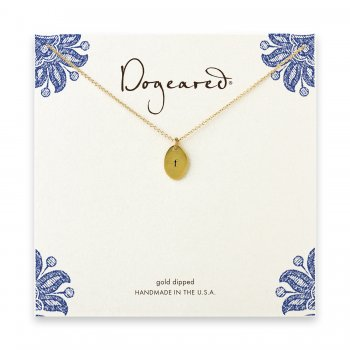 dogeared gold dipped initial necklace - letter f