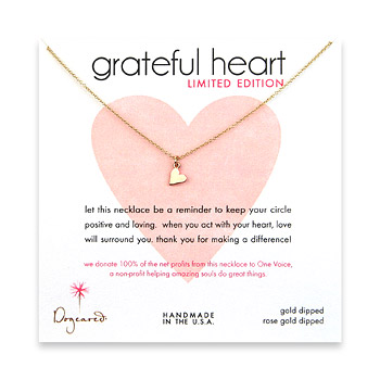 gold dipped limited edition grateful heart necklace with rose gold dipped sideways heart