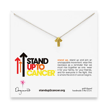 stand up to cancer gold dipped necklace