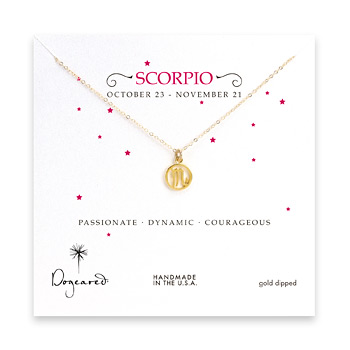 scorpio+zodiac+gold+dipped+necklace