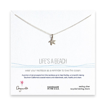 life%27s+a+beach+sterling+silver+necklace+with+starfish+-+18+inches