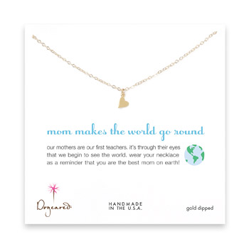 mom makes the world go round gold dipped necklace with sideways heart