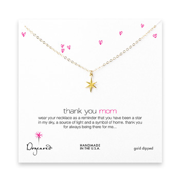 thank you mom necklace, gold dipped