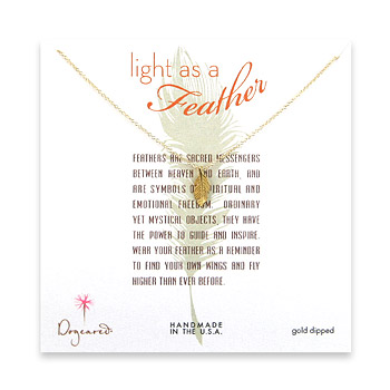 light as a feather small gold dipped feather necklace
