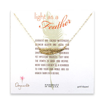 light as a feather medium gold dipped sideways feather necklace