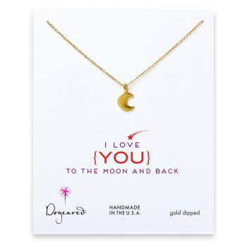 love collection moon necklace, gold dipped