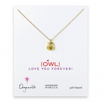 love collection owl necklace, gold dipped