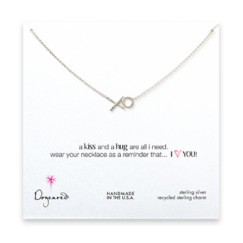xo necklace, sterling silver