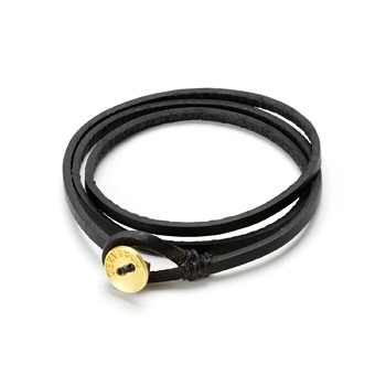 friendship triple wrap black leather bracelet