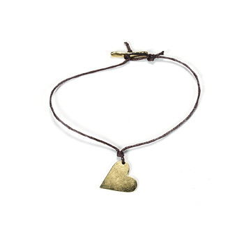 gold dipped love sideways large heart bracelet with chocolate waxed cotton