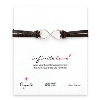 large+infinite+love+bracelet+on+chocolate+leather%2C+silver+dipped