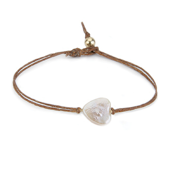 heart pearl bracelet on tobacco irish linen