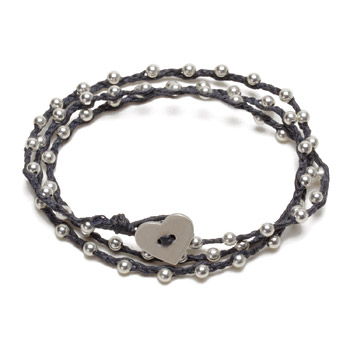 sparkle wrap bracelet with sterling silver heart closure on navy irish linen