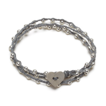 sparkle wrap bracelet with sterling silver heart closure on pebble irish linen