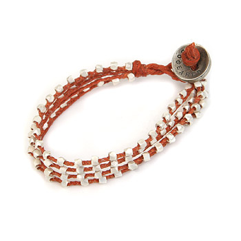 100 good wishes red irish linen bracelet with silver dipped beads