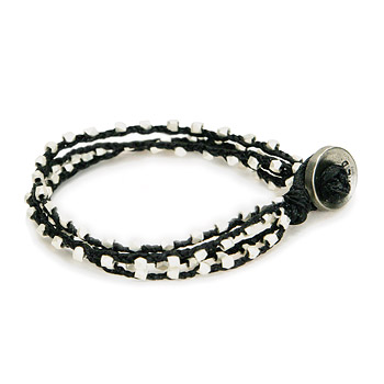 100 good wishes black irish linen bracelet with silver dipped beads