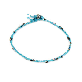 sparkle twisted strand charcoal bracelet on turquoise irish linen