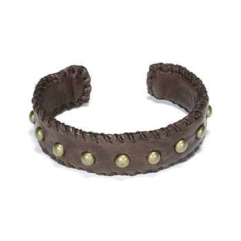 cuff love studded bracelet on chocolate leather