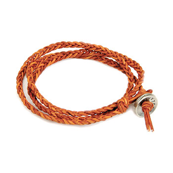 burnt orange triple fishtail leather bangle bracelet with silver bronze button