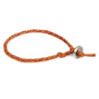 burnt orange fishtail leather bangle bracelet with silver bronze button