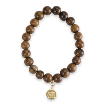 not to worry teak wood bracelet with gold dipped om symbol charm