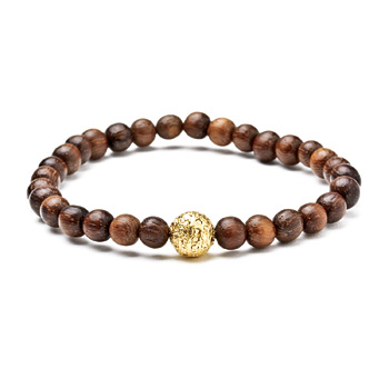 not to worry teak wood bracelet with gold dipped sparkle ball